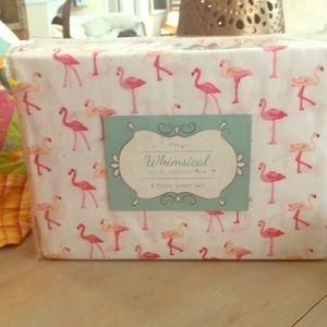 4 piece flamingo full sheet set
